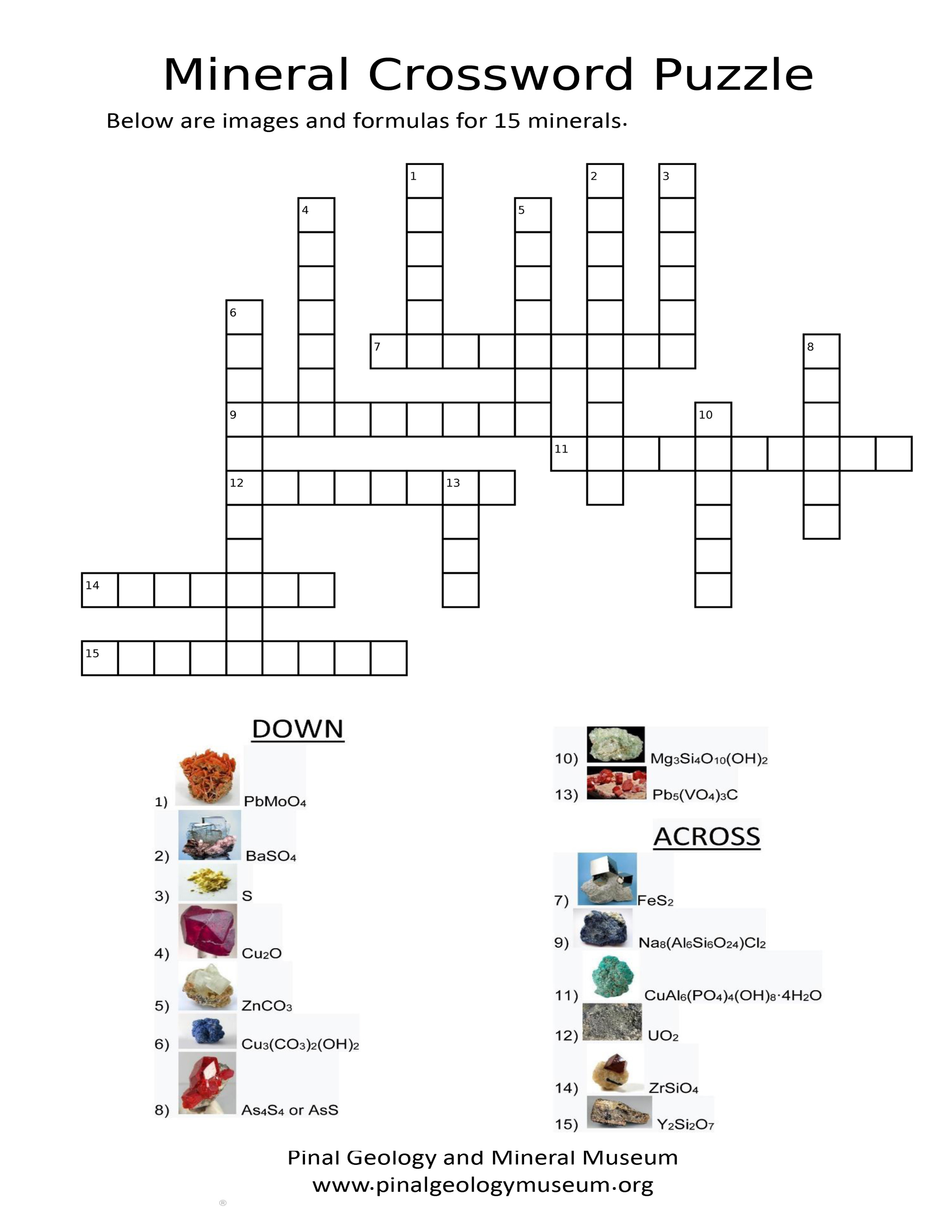 Mineral Crossword Puzzle (hard)